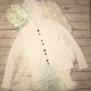 J. Jill White Hooded, Button Front Cardigan   *